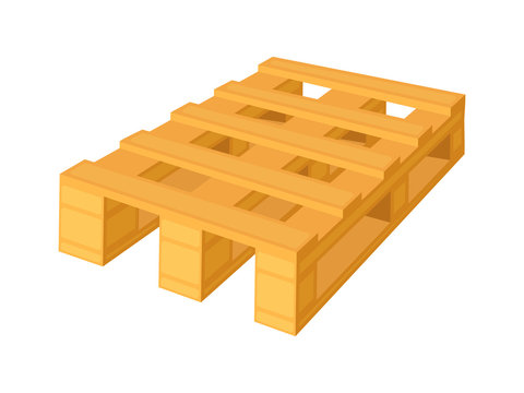 Wooden pallet in perspective, front and side view with dimensions isolated on a white background. Concept vector illustration.