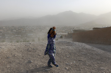 An Afghan girl covers herself during a dust storm at a hilltop in Kabul