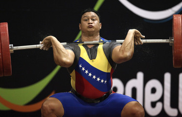 Venezuela's Albarran competes in the men's 105 kg Weightlifting competition at the South American Games in Medellin