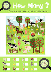 Counting game of farm animals for preschool kids activity worksheet layout in A4 colorful printable version. Vector Illustration.