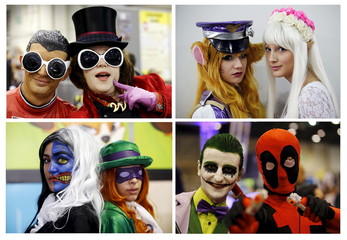 A combination of four pictures shows participants dressed in superhero and heroic fantasy costumes posing during the second edition of the Hero Festival in Marseille, France