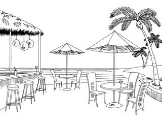 Beach cafe bar graphic black white landscape sketch illustration vector