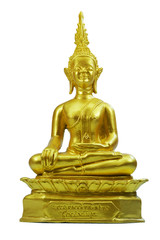 Buddha statue gold material on white background ,clipping path