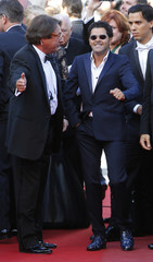 """Cast members Jamel Debbouze and Tewfik Jallab arrive for the screening of the film """"Ne quelque part"""" presented in the Seance Speciale during the 66th Cannes Film Festival"""