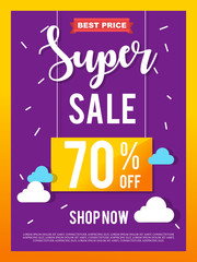 Sale Banner on colorful background. Vector illustration.