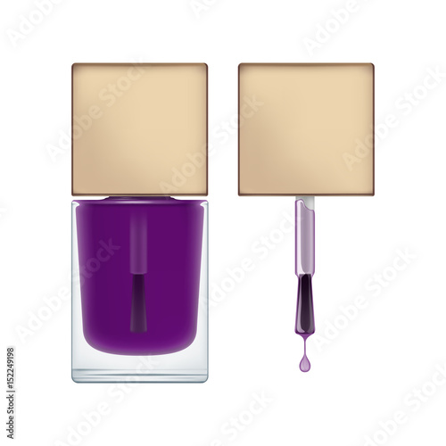 realistic package for nail polish brush with cap and transperent