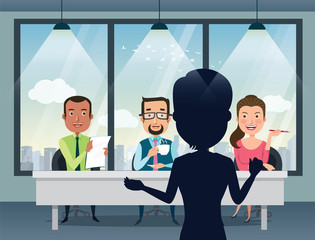 Job Interview with smiling Caucasian human resource manager, specialists and a boss in office. Talent quest audition. Flat style vector illustration.