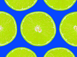 Lime slices on purple background, pop art style