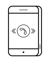Smartphone line art, simple gadget icon for web application, outline vector pictogram isolated on a white background, mobile telephone with touch screen display