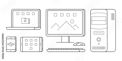 Simple Icons Of Gadgets In Thin Line Style Electronic Person And