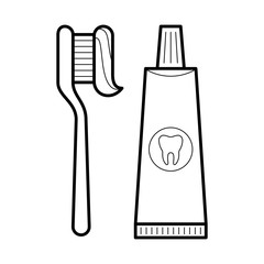 Toothpaste and brush, ensure healthy teeth and beautiful smile, poster for medical cabinet, professional treatment image, stomatology pictogram, care and beauty concept. Vector illustration