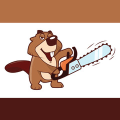 beaver holding a chainsaw in his hands, vector illustration