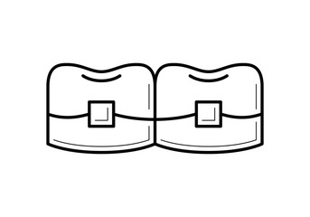 Teeth with brackets icon, metal dental braces picture, orthodontics image, professional treatment image, stomatology pictogram, beauty and care concept. Vector illustration