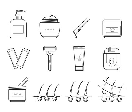 Vector icons set of tools for hair removal. Spa symbol in thin line style. Cosmetic equipment for depilation and epilation procedure. Outline simple illustrations isolated on white