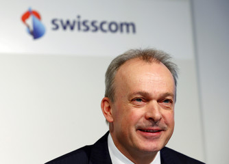 Schaeppi, CEO of Swiss phone company Swisscom AG, addresses the company's annual news conference in Zurich
