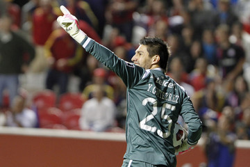 Cruz Azul's Gutierrez gestures to his team during the first half of their CONCACAF Champions League soccer match against Real Salt Lake in Salt Lake City