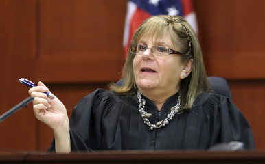 Circuit Judge Debra Nelson asks attorneys to project an animation image while listening to testimony during the George Zimmerman trial in Seminole circuit court, in Sanford