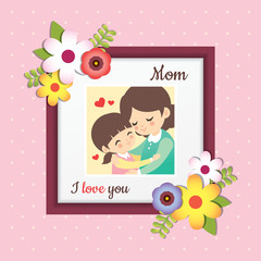 Happy Mother's Day. Picture of cartoon mother and daughter hugging together. Photo frame with flower decor on polka dot background. Vector illustration.