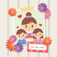 "Happy Mother's Day. Photo of cartoon mother with daughter and son. Photo frame with flower decor and memo written ""love you, mom!"", white wooden wall background. Vector illustration."