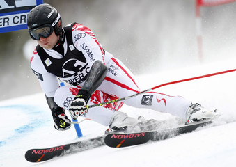 Romed Baumann of Austria skis to the fourth best time in the first heat of the men's World Cup giant slalom in Beaver Creek
