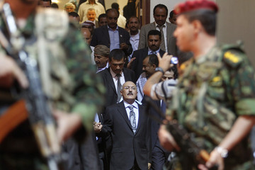 Yemen's former President Saleh arrives at a ceremony marking the 30th anniversary of establishment of the General People's Congress party in Sanaa