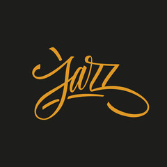 Handwritten word Jazz. Hand drawn lettering. Calligraphic element for your design. Vector illustration.