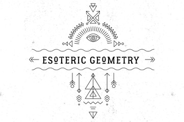 Sacred geometry magic totem, esoteric and alchemy background