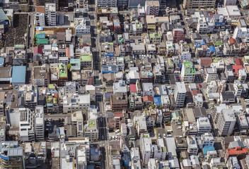 Tokyo metropolis streets and buildings, aerial top view, Japan.