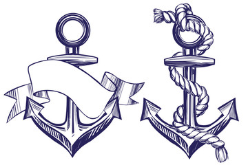 Anchor sign set symbol hand drawn vector illustration sketch isolated on white background
