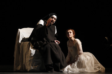 """Singers Polaski and Petibon perform on stage during a dress rehearsal of Poulenc's opera """"Dialogues des Carmelites"""" in Vienna"""