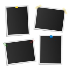 Empty attached photos collection on white. Poster of dark pictures with white frames. Cards or reminders templates attached with pushpins, paperclips and scotch tape vector illustrations collection.