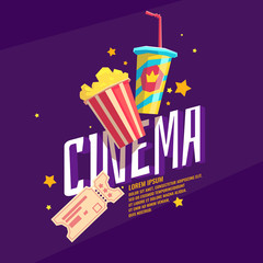 Colorful poster cinema with popcorn, a ticket and a soda