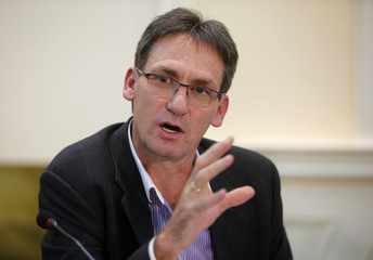 Chief Executive of Anglo American Platinum, Chris Griffith addresses a media conference in Johannesburg
