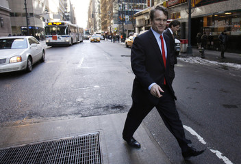 Bank of America CEO Brian Moynihan is seen after leaving a meeting with lawyer Davis Polk in New York