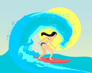 The surfing girl vector illustration. The brunette woman is stand on surf board and riding on the big wave.
