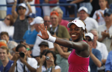 Stephens of the U.S. defeats Malek of Germany during their women's singles match at the U.S. Open tennis tournament in New York
