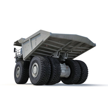 Heavy mining truck on white. 3D illustration