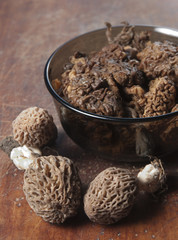 Morel fungus boiled
