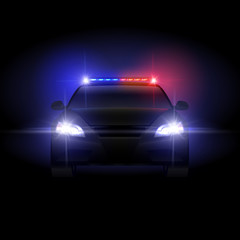Sheriff police car at night with flashing light vector illustration