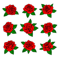 Red roses with green leaves vector design for tattoo