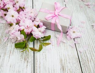 Sakura blossom with gift box
