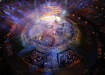 Picture shows a general view of a pre-show at the Olympic Stadium before the opening ceremony of the London 2012 Olympic Games