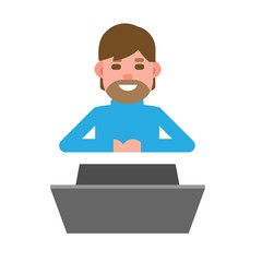Man, man, young, laptop, working, office, cartoon