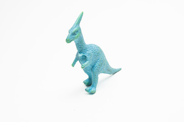 Dinosaur toy plastic figures on white background