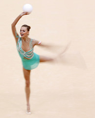 Poland's Joanna Mitrosz competes using the ball in their individual all-around gymnastics final match at the Wembley Arena during the London 2012 Olympic Games