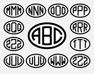 Set 2 of templates from three capital letters inscribed in a oval. From wide lines of the same thickness. To create logos, emblems, monograms. Lineart style.