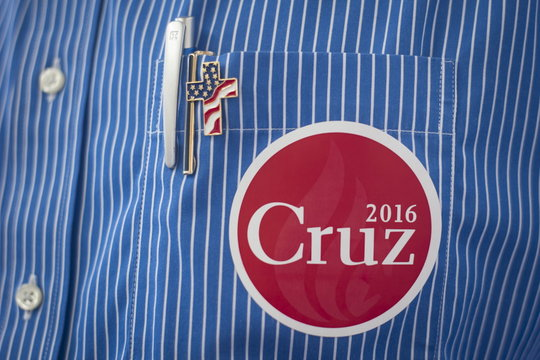 A sticker is seen on a shirt pocket of a supporter of U.S. Republican presidential candidate Cruz at the Freedom 2015 National Religious Liberties Conference in Des Moines