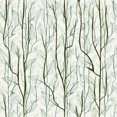 Thin delicate tree branch with leaves. Seamless fashionable floral background, wallpaper.