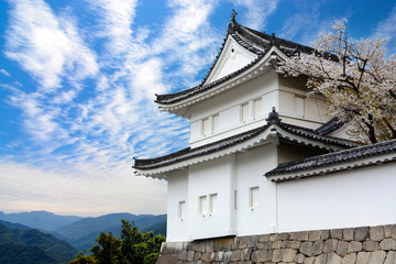 Fotobehang Kasteel Historic Nijo Castle guard tower against a blue sky and mountains backdrop