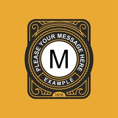 Modern emblem, badge, monogram template. Luxury elegant frame ornament line logo design vector illustration. Good for Royal sign, Restaurant, Boutique, Cafe, Hotel, Heraldic, Jewelry, Fashion.